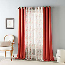 Stratford Park Lola 84-Inch Grommet Light Filtering Window Curtain Panels in Red (Set of 4)