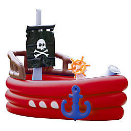 Teamson Kids Pirate Boat Inflatable Pool with Sprinkler in Red