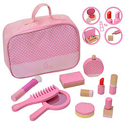 Teamson Kids Fashion Polka Dot Print Chloe Wooden Vanity Accessories and Makeup Kit in Pink