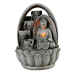 Peaktop Indoor/Outdoor Buddha Tabletop Waterfall Fountain in Grey with Pump and LED Light