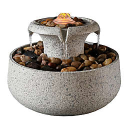Peaktop Natural Tabletop LED 2-Tiere Indoor/Outdoor Fountain in Stone with Pump