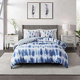 CosmoLiving Tie Dye Cotton Printed 3-Piece Full/Queen Comforter Set in Blue