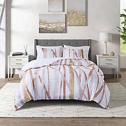 CosmoLiving Jorja Cotton Metallic Printed 3-Piece King/California King Comforter Set in Blush/Gold