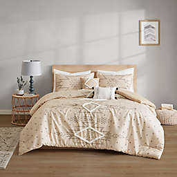 Intelligent Design Tate Printed 5-Piece Full/Queen Comforter Set With Chenille Trim in Natural