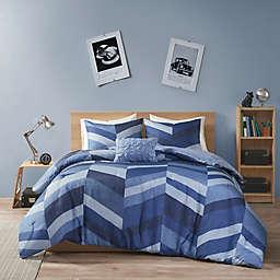 Intelligent Design Aiden Chevron Printed 4-Piece Full/Queen Comforter Set in Navy