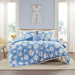 Intelligent Design Jane Daisy Printed 4-Piece Full/Queen Comforter Set With Tassels in Blue