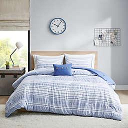 Intelligent Design Lumi Striped 3-Piece Twin/Twin XL Comforter Set in Blue