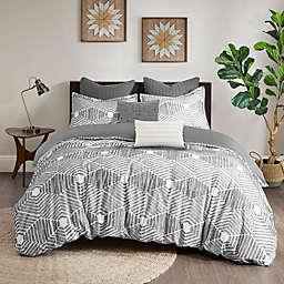 INK+IVY Ellipse Cotton 3-Piece Full/Queen Comforter Set in Grey