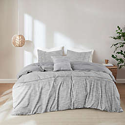 Clean Spaces Dover Organic Cotton Oversized 5-Piece Full/Queen Comforter Cover Set in Grey