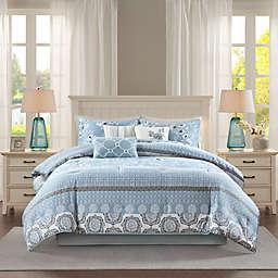 Madison Park Willa Cotton Printed 7-Piece California King Comforter Set in Blue