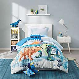 Mi Zone Kids 3-Piece Reversible Tucker Dinosaur Twin Comforter Set in Blue
