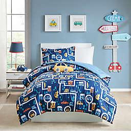Mi Zone Kids 4-Piece Reversible Brooks City Full/Queen Comforter Set in Navy