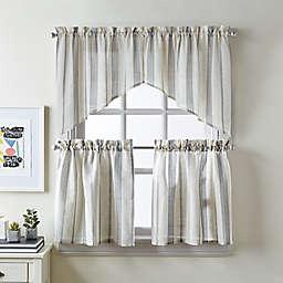 Curtainworks McKenzie Window Curtain Tier Pair and Swag Valance in Grey