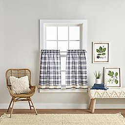 Seaton 36-Inch Rod Pocket Window Curtain Tiers in White/Navy (Set of 2)