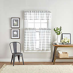 Buffalo Check 3-Piece 36-Inch Kitchen Window Curtain Tier Pair and Valance Set in White/Grey