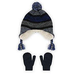 Capelli New York Toddler 2-Piece Blue Stripe Pom Hat and Mitten Set