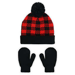 Capelli New York Toddler 2-Piece Buffalo Plaid Cuff Pom Beanie and Mitten Set in Red