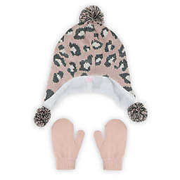 Capelli New York® Size 2T-4T Leopard Earflap Hat and Mittens Set in Pink