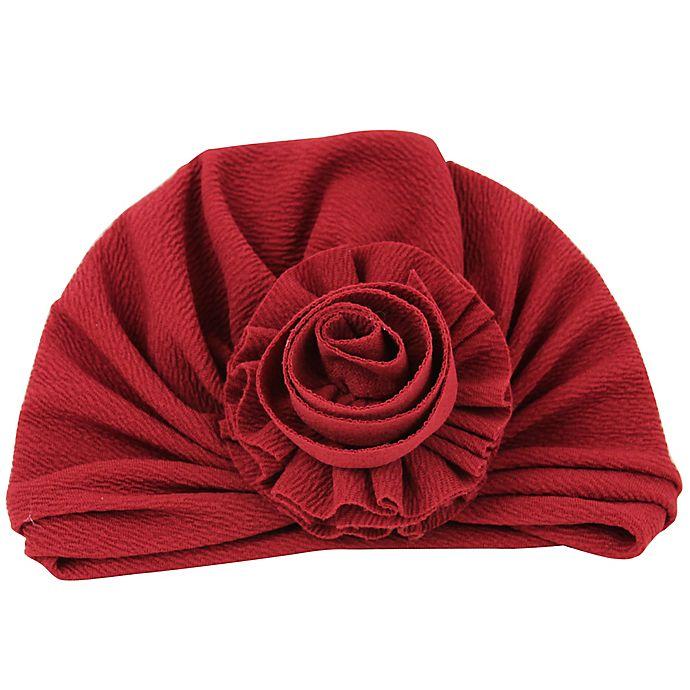 Alternate image 1 for Tiny Treasures™ Newborn Rosette Turban Hat in Burgundy