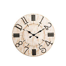 Glitzhome® Oversized Wooden Farmhouse Wall Clock in Distressed White