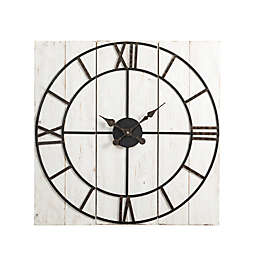 Glitzhome® Oversized Farmhouse Wood and Metal Wall Clock in Distressed White/Black