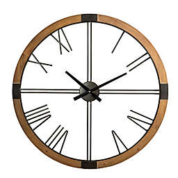 Glitzhome® Oversized Modern Wood and Metal Wall Clock