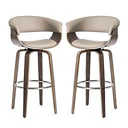 Glitzhome® Mid-Century Modern Swivel Bar Chair in Cream (Set of 2)