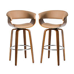 Glitzhome® Mid-Century Modern Swivel Bar Chair in Natural (Set of 2)