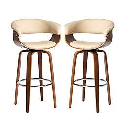 Glitzhome® Mid-Century Modern Swivel Bar Chair in Beige (Set of 2)