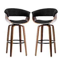 Glitzhome® Mid-Century Modern Swivel Bar Chair in Black (Set of 2)