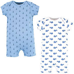 Hudson Baby® Size 6-9M 2-Pack Blue Whale Short Sleeve Rompers