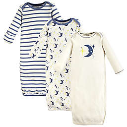 Touched by Nature Newborn 3-Pack Moon Organic Cotton Gowns in Blue