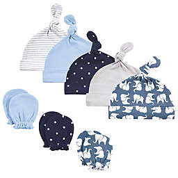 Hudson Baby® Size 0-6M 8-Piece Elephant Cap and Scratch Mitten in Blue