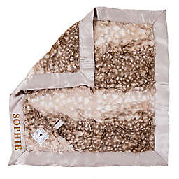 Zalamoon Plush Luxie Pocket Monogram Blanket with Pocket and Holder in Fawn