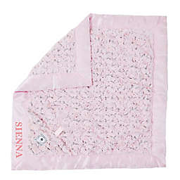 Zalamoon Plush Luxie Pocket Monogram Blanket with Pocket and Holder in Blush