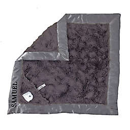 Zalamoon Plush Luxie Pocket Monogram Blanket with Pocket and Holder in Charcoal