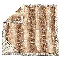 Zalamoon Strollet Plush Monogram Blanket with Designated Satin Trim Corner in Charcoal