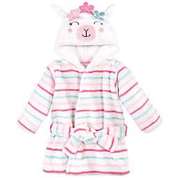 Hudson Baby® Llama Plush Animal Face Bathrobe in White/Pink