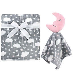 Hudson Baby® 2-Piece Moon Plush Security Blanket Set in Pink