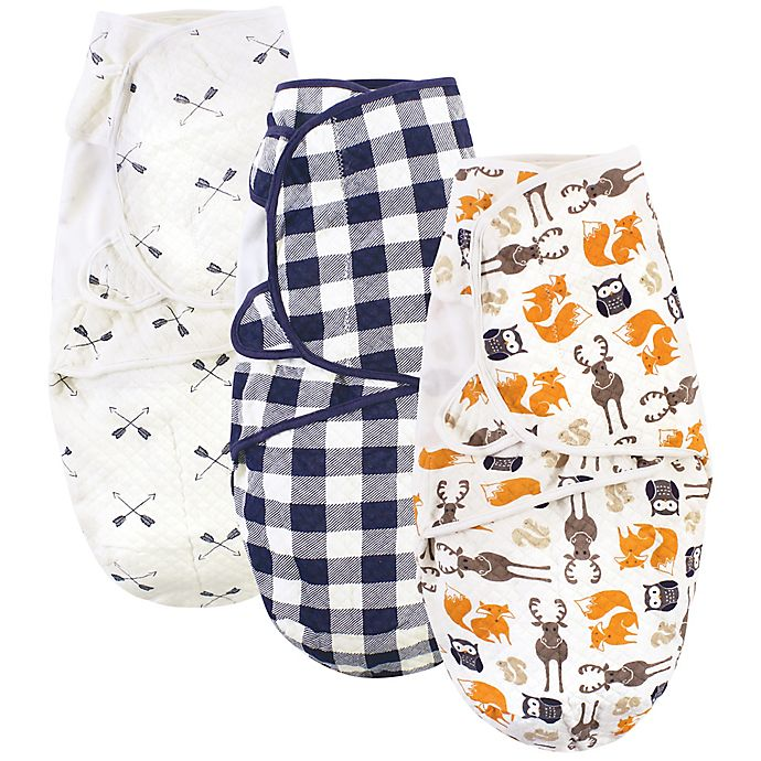 Alternate image 1 for Hudson Baby® 3-Pack Boy Quilted Cotton Swaddle Wraps in Orange
