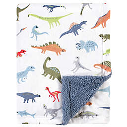 Hudson Baby® Dino Plush Baby Blanket with Sherpa Back in Blue<br />
