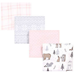 Hudson Baby® 4-Pack Winter Forest Cotton Receiving Blankets in Pink