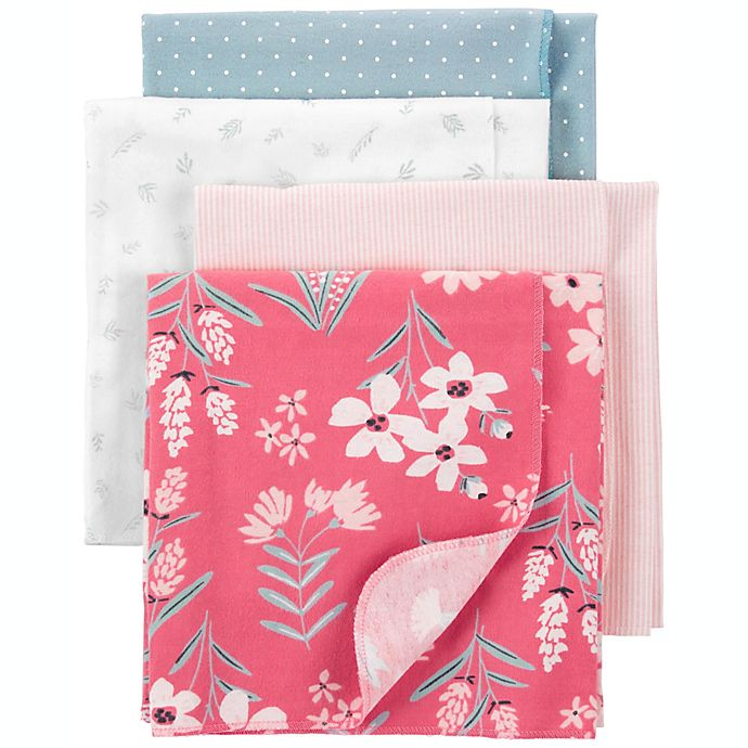 Alternate image 1 for carter's® Newborn 4-Pack Floral Cotton Flannel Receiving Blankets in Pink