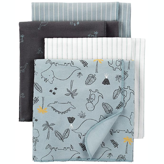 Alternate image 1 for carter's® Newborn 4-Pack Dino Cotton Flannel Receiving Blankets in Blue