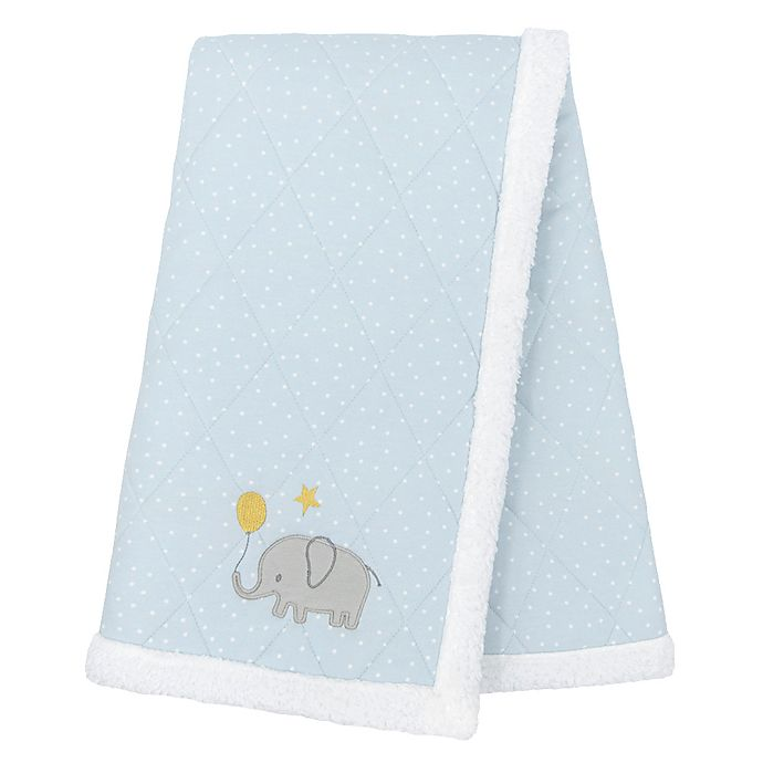 Alternate image 1 for Living Textiles Mason Elephant Cotton Stroller Blanket in Grey/Blue