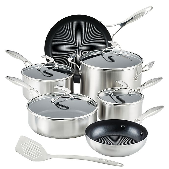 Alternate image 1 for Circulon® SteelShield Nonstick Stainless Steel 11-Piece Cookware Set