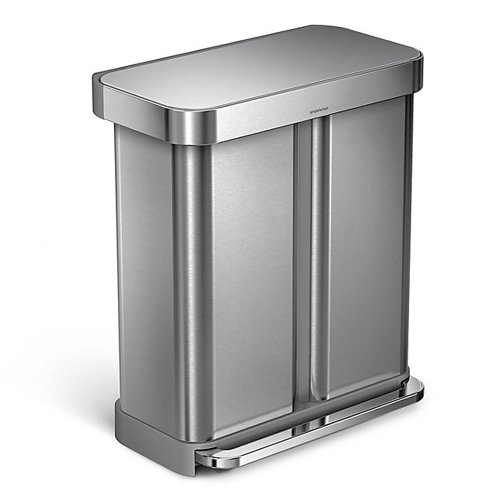 Alternate image 1 for simplehuman® Dual Compartment Rectangular 58-Liter Step Trash Can