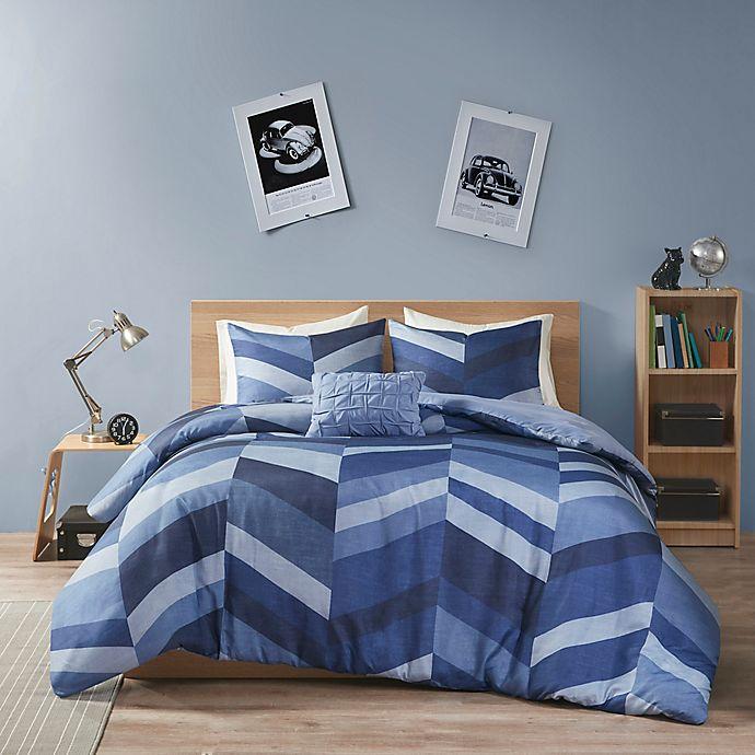 Alternate image 1 for Intelligent Design Aiden Chevron Printed Duvet Cover Set
