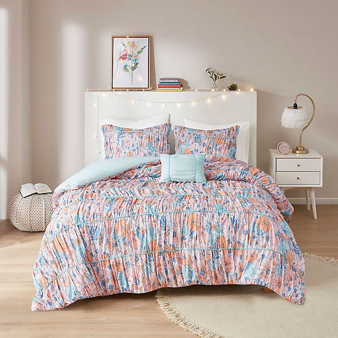 Alternate image 1 for Intelligent Design Mae Floral Printed Ruched Duvet Cover Set
