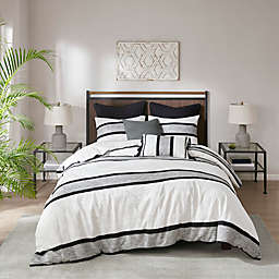 INK+IVY Cole Cotton Jacquard 3-Piece King/California King Duvet Cover Set in Black/White
